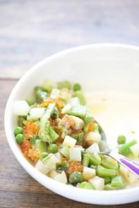 Assiette tiède de légumes de printemps et oeufs de truite - Spring vegetables with trout aggs - Vanessa Romano photographe et styliste culinaire