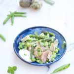 photo culinaire deCanon d'agneau aux légumes de printemps