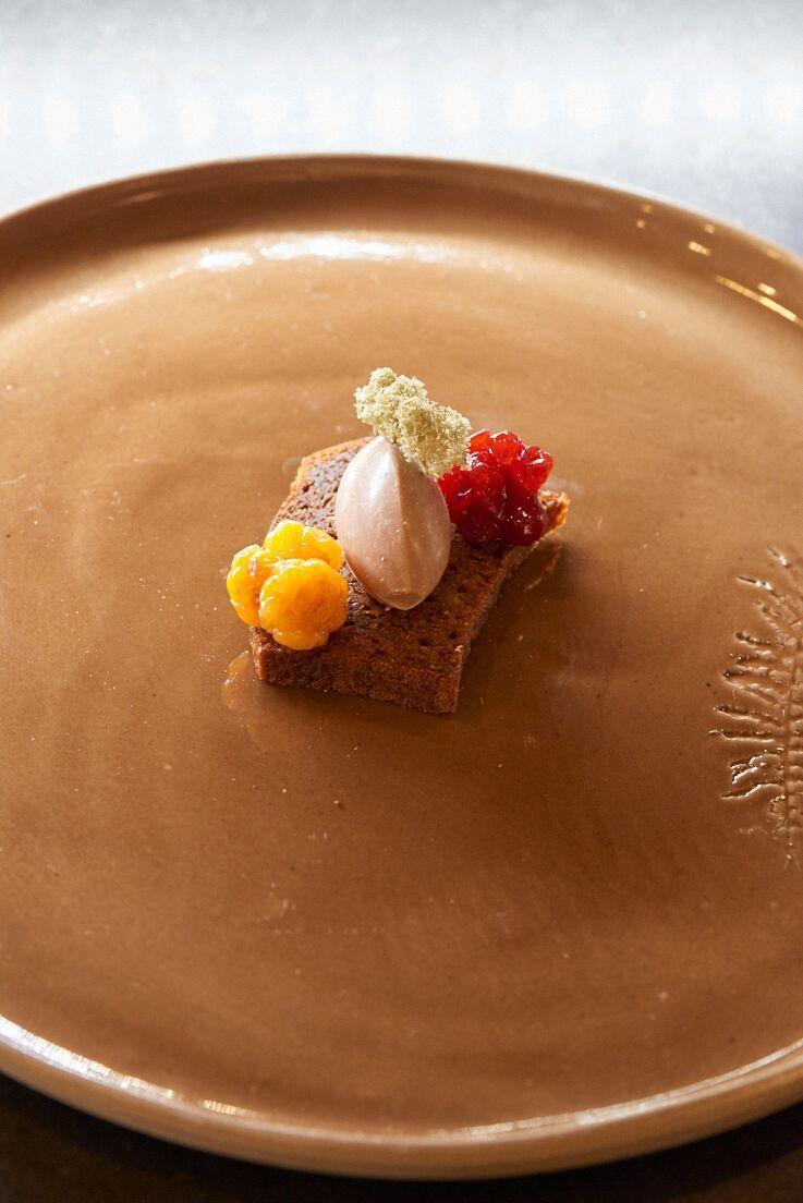 Photo culinaire d'un plat de foie de renne Icehotel suède