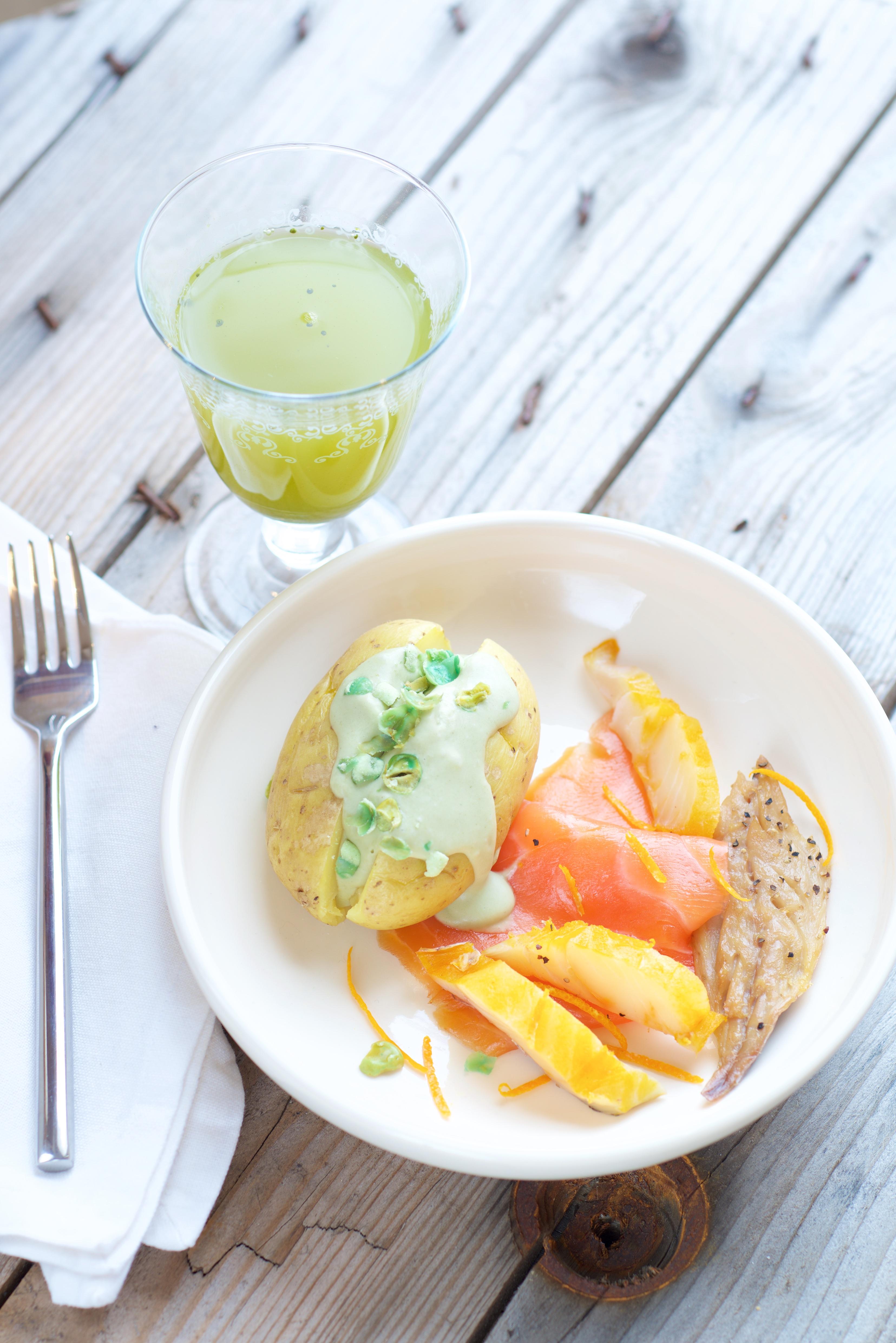 Photographie culinaire de Pommes de terre crème coco wasabi Vanessa Romano