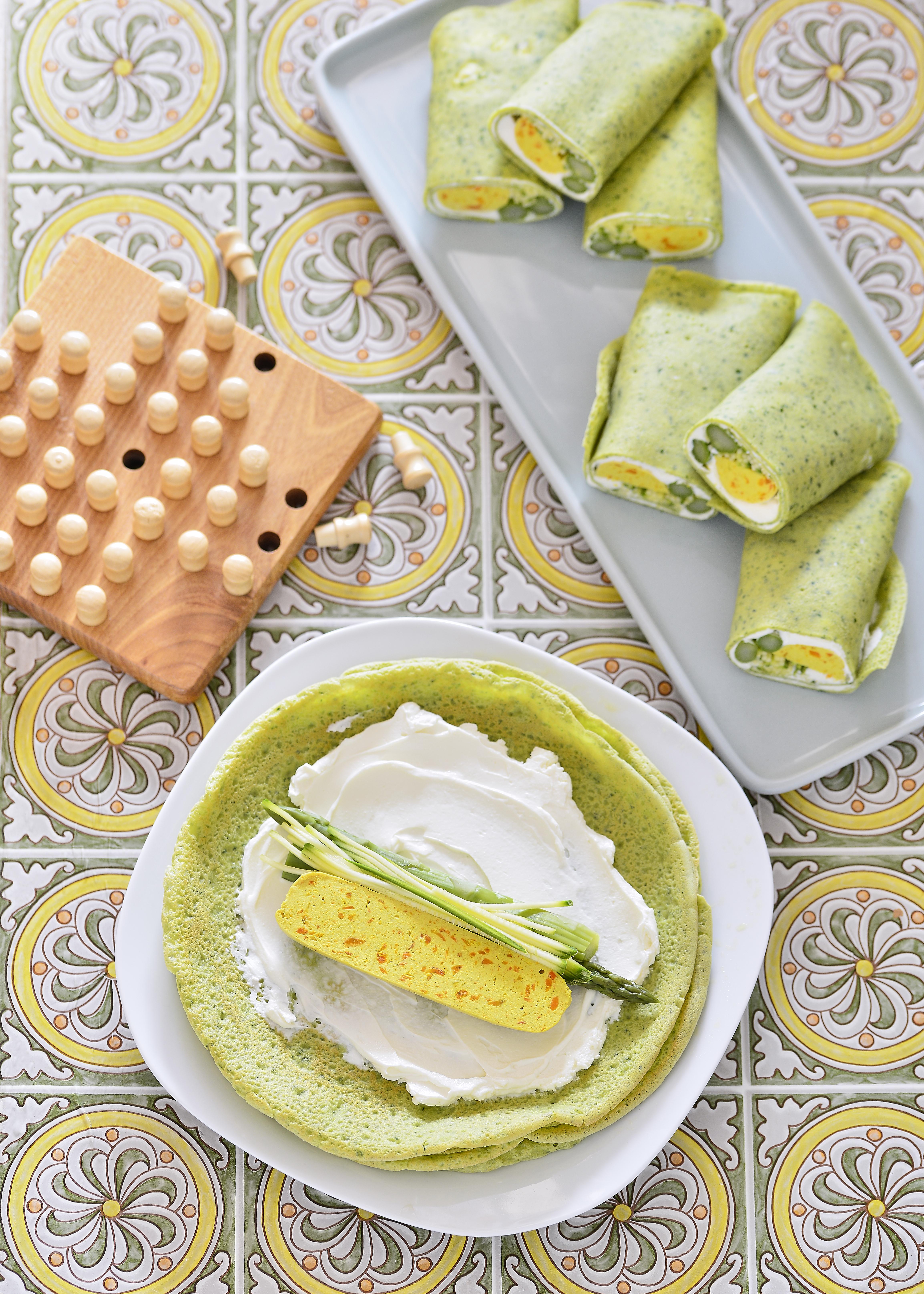 photo culinaire de crêpes vertes
