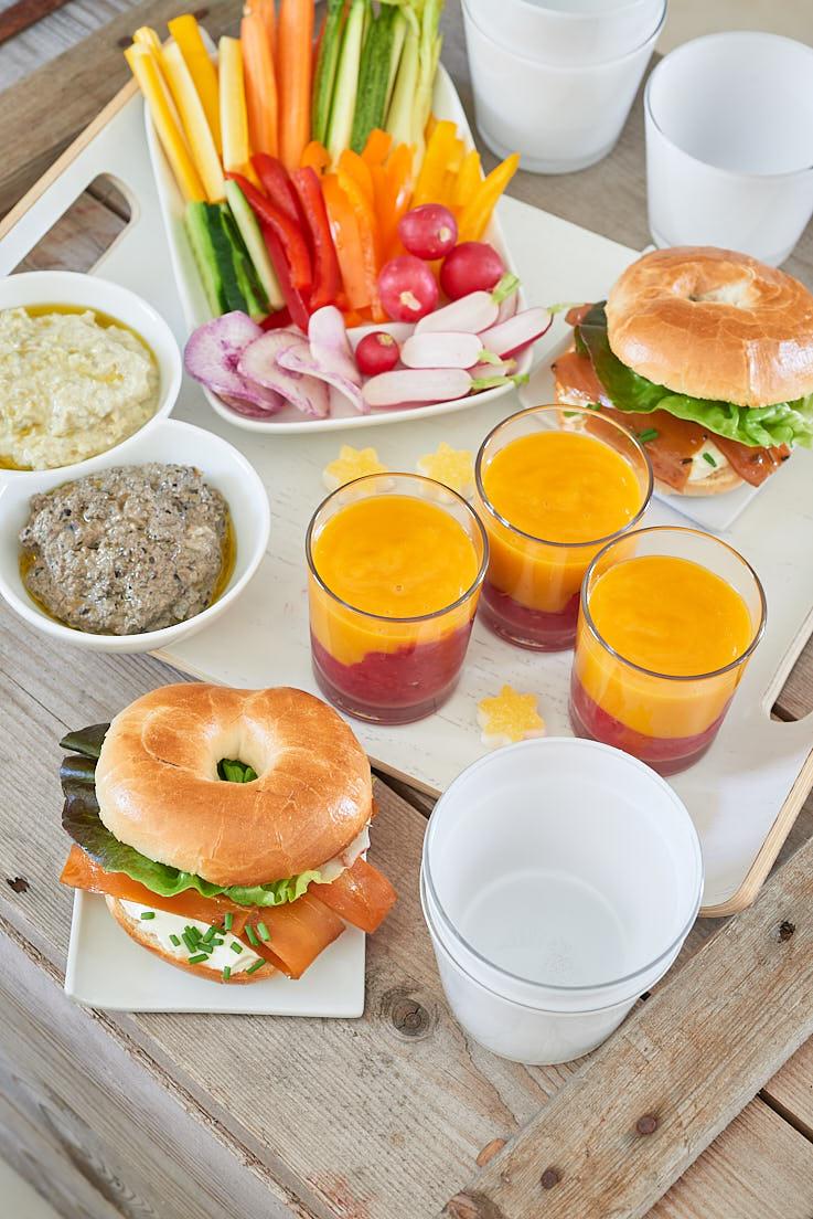 recette et stylisme culinaire d'un plateau TV végétarien