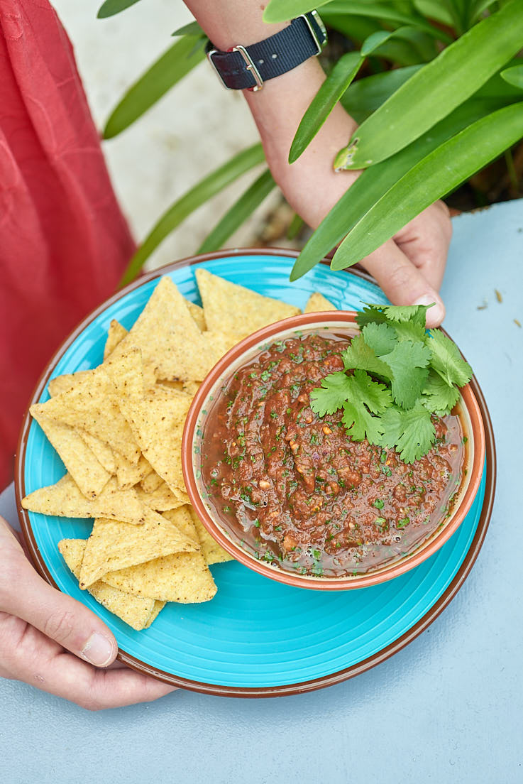 photographie culinaire d'une salsa express