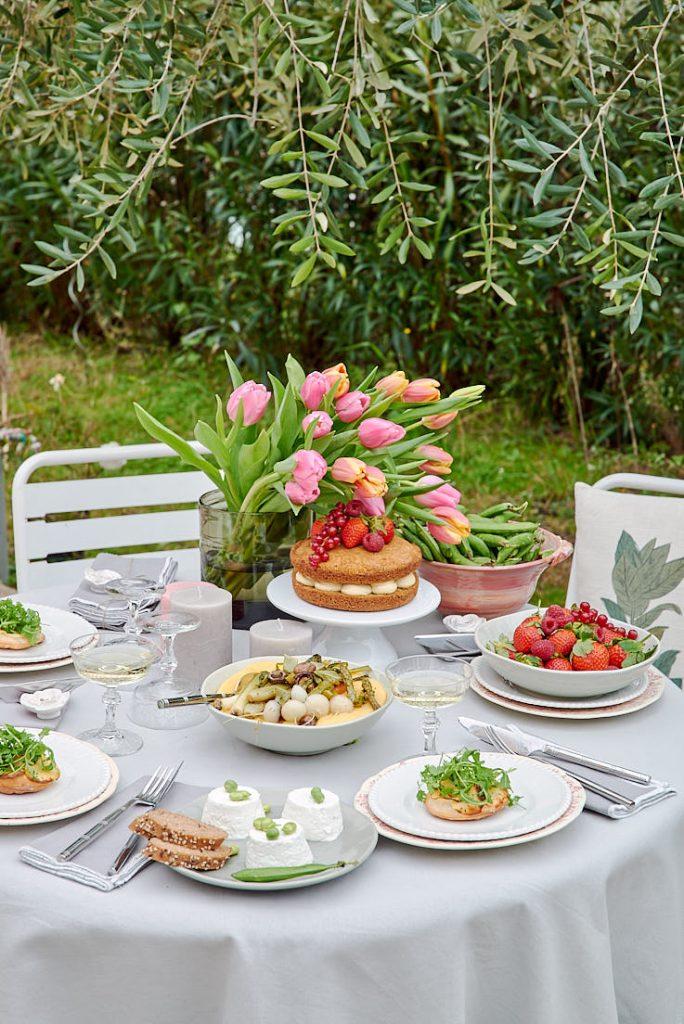 Stylisme et photo d'une table de printemps pour Esprit Veggie