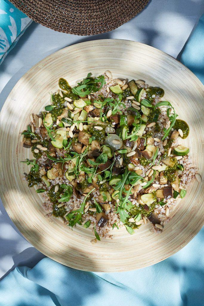 photo recette et stylisme culinaire salade de sarrasin légumes grillés