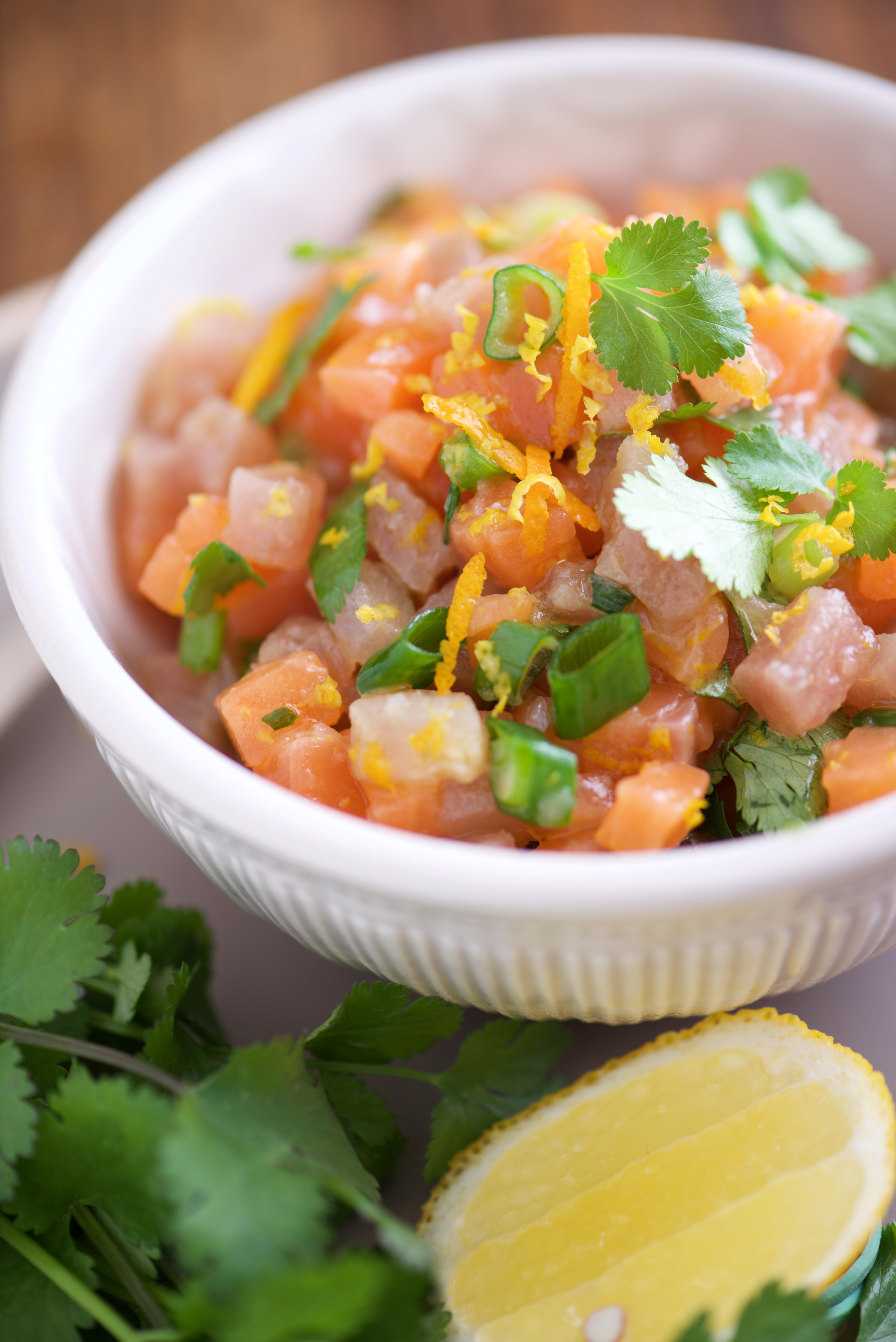 photographie culinaire de tartare de saumon