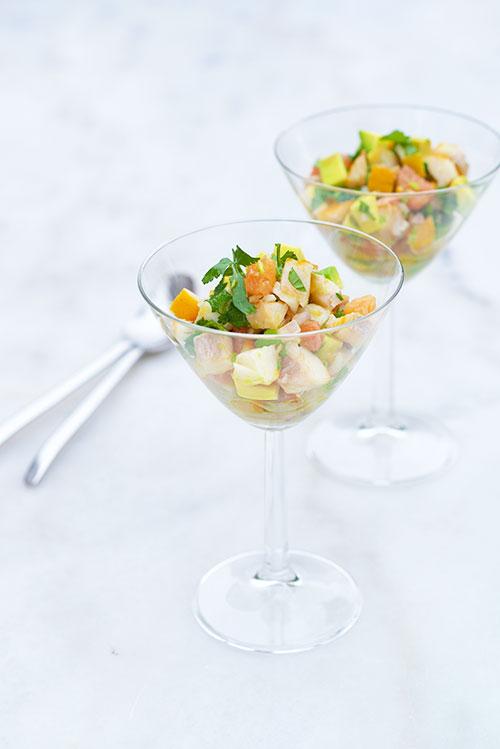 photographie culinaire d'un salpicon de haddock et pamplemousse